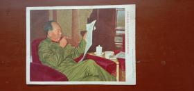 毛主席宣传画 (穿绿军装 )上海人民美术出版社  保真包老