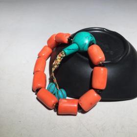 珊瑚手链 尺寸:珠子直径约:11mm,重量:49g