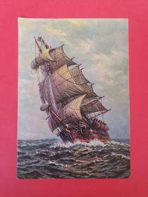 五六十年代水彩画 帆船大海航行