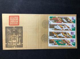 【集邮收藏品 J120故宫SCSRF 中国邮票总公司丝绸首日封绢封(带卡) 背有黄】