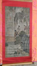 包老包旧、多位名家收藏章、明代著名画家陈道复8平尺精品国画《夏日游乐图》