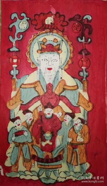稀见南通工艺美术研究所藏品*七八十年代南通木版年画版画*五子财神