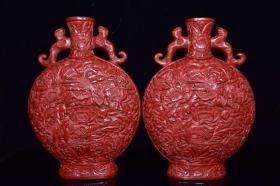 剔红漆器大花瓶一对,重3359克,880