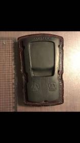 Z-0015海外回流 古名砚 清代古琴砚台一方 背面篆字 古乐琴砚 红木盒 砚石尺寸13*7.5*1.5cm