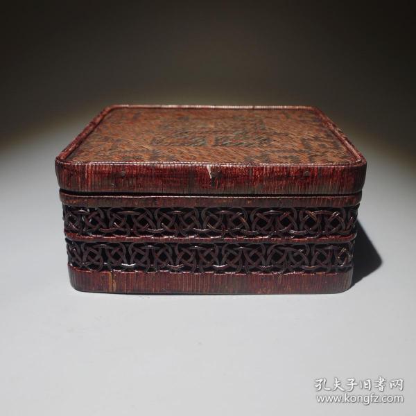 古玩古董民俗老物件清代竹编藤编盒子文房收纳盒木盒囍字盒嫁妆