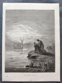 十九世纪 古斯塔夫·多雷 木口木刻 木版画229- 《THE COMING OF THE BOAT》190905