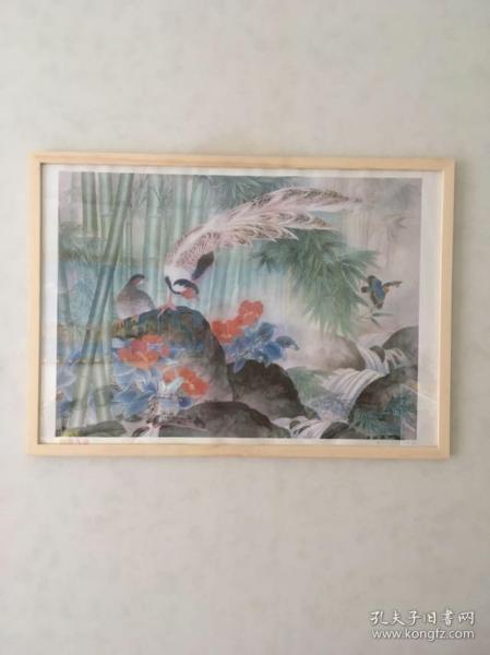 (含框顺丰邮寄)80年代90年代年画收藏  花鸟竹林 品相如图,尺寸对开