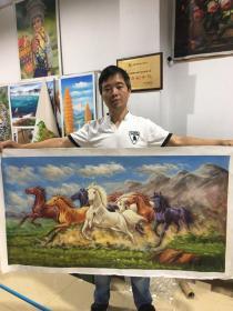 卖家保真附合影——省美协会员、著名油画家黄天恩7平尺精品油画真迹《马到成功》