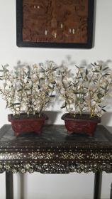 清代 剔红大漆盆栽珍珠花卉盆景