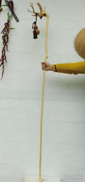 精品六道木降龙木龙头文人杖,造型好,底下有节,不包括葫芦 长1.73米大头2.1小头1.3厘米