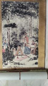 金陵画派开创者、江苏国画院原院长、著名画家傅抱石大师0.8平尺精品国画《竹林七贤图》