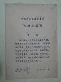 中国共产主义青年团入团志愿书(1963年)