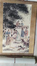 金陵画派开创者、江苏国画院原院长、著名画家傅抱石大师0.8平尺精品国画《七贤图》