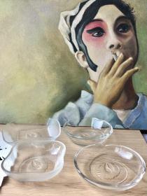 HOYA日本豪雅|仙鹤浮雕水晶器皿茶点钵