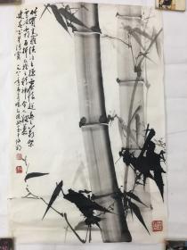 画家黎振欧作品竹子两幅尺寸69×44一起合售