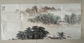 南京著名书画家 张宁  先生 精美山水画《山村水乡》