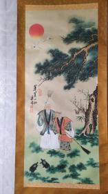 卖家保真、包老包旧——民国著名人物画家吴寿儒8平尺精品国画真迹《蓬莱二仙》