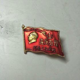 毛主席像章:造反有理,河南二七公社,郑大联委一周年纪念(稀缺品种)