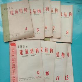 建筑译丛(建筑结构)1964年4-12期【9本合售】