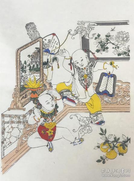 杨柳青木版年画 福善吉庆 画坯 八九十年代杨柳青年画老画坯,木版套色印制,品相完好无破损。未上色也是一幅漂亮的版画。纸张尺寸约35cm*40cm。售出不退不换。
