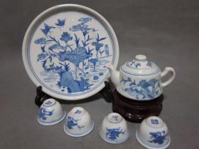 景德镇/文革瓷器保真/老厂货,四茶杯一茶壶一茶盘六件一套