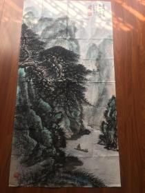黎雄才作品山水一幅尺寸136×70