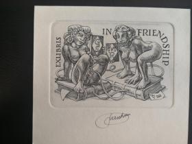 戴莫铜版藏书票(票主小塞维林和罗森)