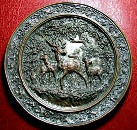 1853年罕见的老古董大铜章  大森林里的麋鹿  直径183mm 重252g  有作者签名