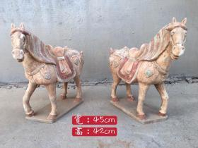 旧藏唐三彩马一对 色彩鲜明 胎质细腻 细节如图