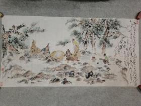 成都名家许老师 精品国画人物 对弈图 四尺整张 原稿手绘真迹保真