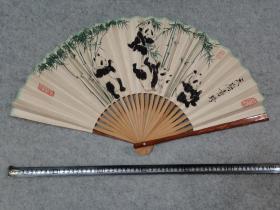 成都制扇名家 彭老 80年代老折扇成扇 国画熊猫 原稿手绘真迹保真