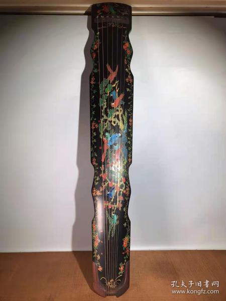 收藏民族乐器实木满工手工錾刻彩绘漆器古筝