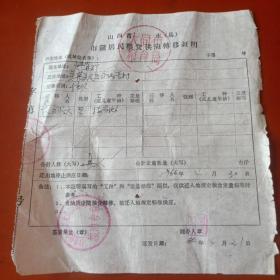 1966年山西省大同市市镇居民粮食供应转移证明