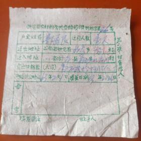 1963年忻定县农村粮食供应转移证