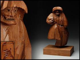 日本  木雕   摆件「能 石桥/能人形」飞騨一位一刀彫   【中村一刻 造】