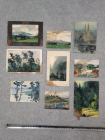 四川著名画家 成都市美协理事 张友仁 油画、水彩画小品一共9幅 打包出售 原稿手绘真迹保真