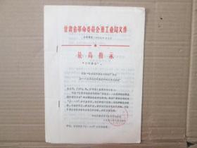 甘肃省革命委员会重工业局文件1971
