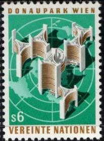 联合国邮票C,1979年多瑙河畔联合国城,世界地图、建筑,一枚价