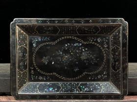 螺钿漆器方盘厚2.2cm  尺寸20×14cm