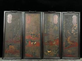 木胎漆器十二生肖四扇挂屏一套尺寸:42×17×2cm【单个】