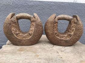 青石雕刻双鱼练功石一对 重38斤