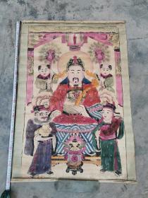 晚清时期,木版财神年画,110*78