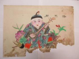 民国间木版套色年画一张 拾不闲 尺寸54/36厘米 161