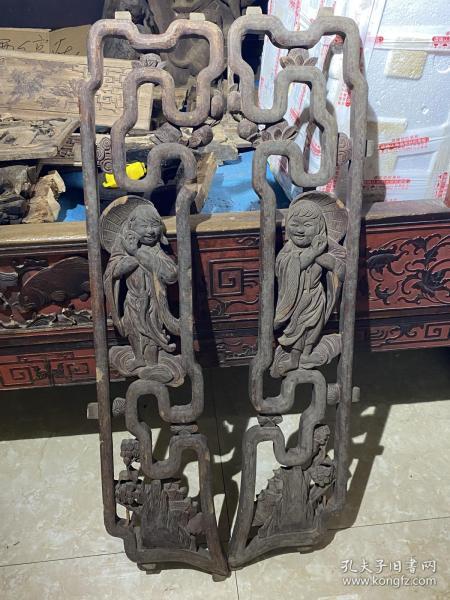 漂亮,老木雕人物挂饰挂屏一对