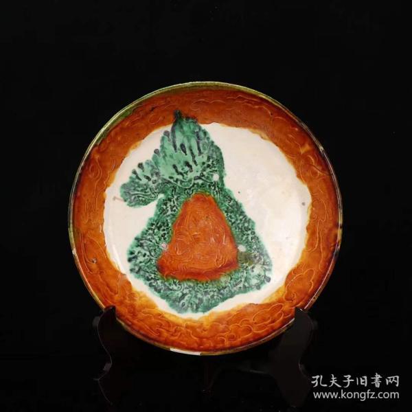 唐三彩上师坐像圆盘。