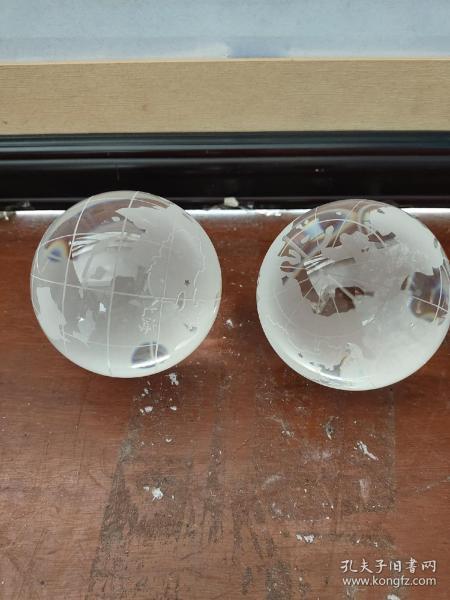 玻璃地球仪一对
