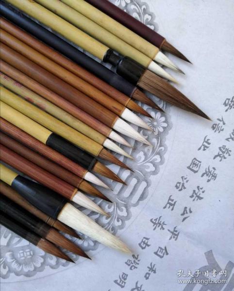 19支纯毛料老毛笔,手工刻字