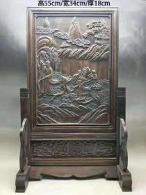 民国时期花梨木插屏,雕刻人物,山水风景,品如图