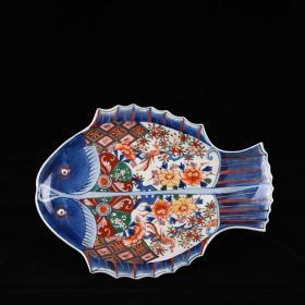 清乾隆五彩描金花卉纹双鱼盘外销瓷回流瓷