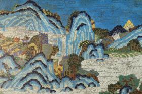 漆雕景泰蓝山水挂屏,